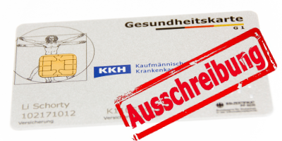 """Abbildung: Gesundheitskarte der KKH mit Stempelabdruck """"Ausschreibung"""""""